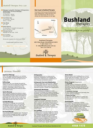 Bushland Therapies brochure