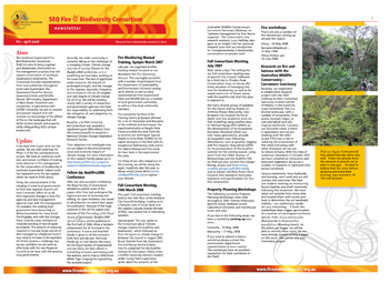 SEQ Fire and Biodiversity Consortium Newsletter