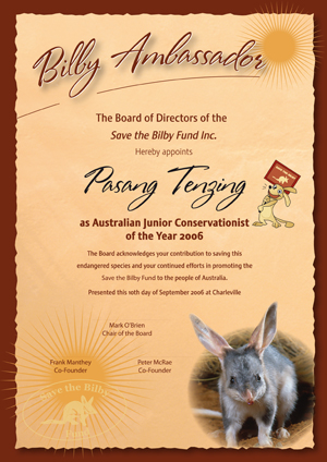 Save the Bilby Fund Certificate